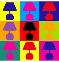 Lamp sign Pop-art style icons set vector image