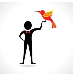 Man holding a bird icon vector image