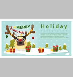 Merry christmas greeting background with dog vector