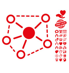 Molecule links icon with love bonus vector