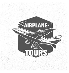 monochrome airplane tours logotype vector image