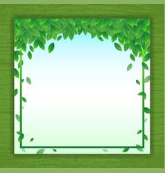 Nature background banner with green leaf frame vector