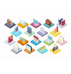 Set of Business Icon Isometry 3d Design vector image