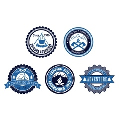 Set of Outdoor Adventure and Camping emblems vector image vector image