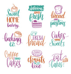 Set of vintage bakery hand lettering vector