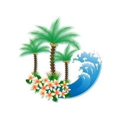 Tropical island with palm trees and surf vector