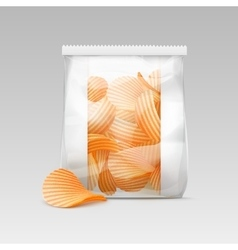White sealed plastic bag with potato crispy chips vector