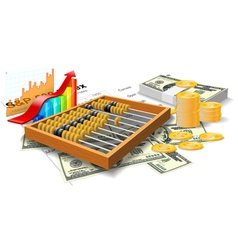 Wooden abacus bills and coins vector image vector image