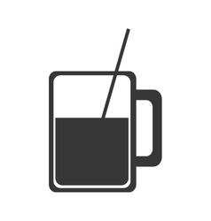 Glass cup with straw icon vector