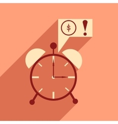 Modern flat icon with shadow alarm clock vector