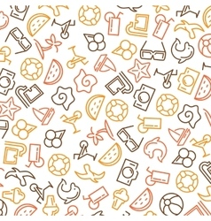 Summer time seamless pattern with icons vector