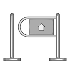 Shop entrance gate icon gray monochrome style vector