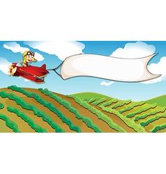 A boy riding in a plane vector image