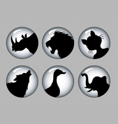 Animal silhouette black and white 1 icons vector