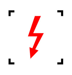 High voltage danger sign  red icon inside vector