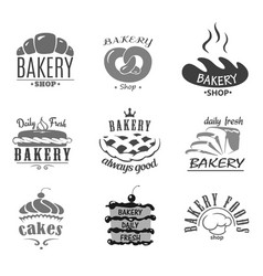 bread icons and cakes symbols for bakery vector image