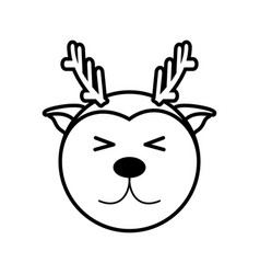 Outline reindeer head animal vector
