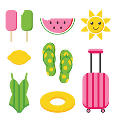Colorful flat design summer set vector