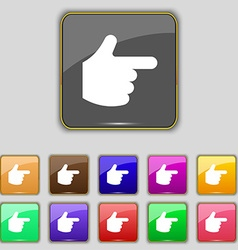 Pointing hand icon sign set with eleven colored vector