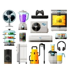 Home appliances icons set collection of elements vector
