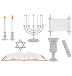 Collection of jewish religious objects judaica vector