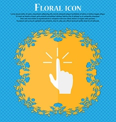 Click here hand icon sign floral flat design on a vector