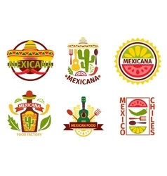 Mexican food logo labels emblems and vector