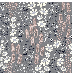 Seamless pattern design with hand drawn flowers vector