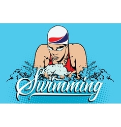 Summer kinds of sports swimming vector