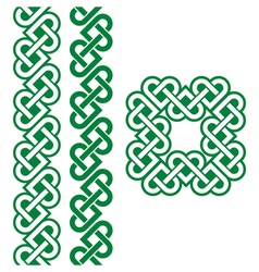 Celtic green irish knots braids and patterns vector