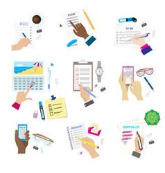 Agenda list concept set vector