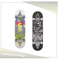 Alien skateboard design vector