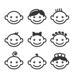 baby face icons set vector image vector image