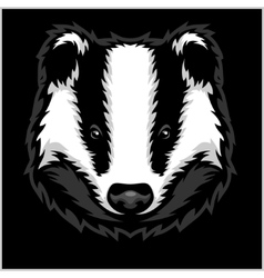 Badger Head black and white vector image