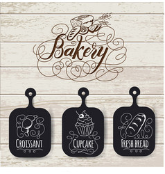 bakery menu design and bakery hand drawn vector image