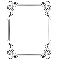 black ornate frame on a white background vector image vector image