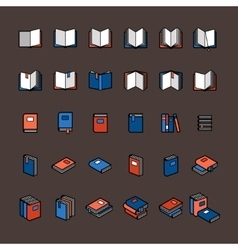 Book color icons vector