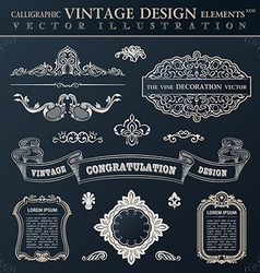Calligraphic black elements vintage congratulation vector
