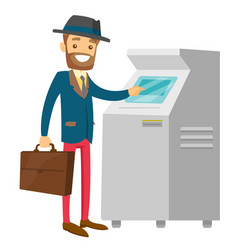 Caucasian white man using atm for cash withdrawal vector