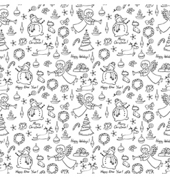 Christmas doodle seamless vector image