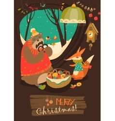 Cute bear and fox celebrating Christmas in den vector image vector image