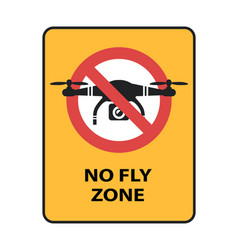 drone no fly zone sign yellow prohibition sign vector image vector image