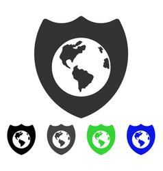 Earth shield flat icon vector