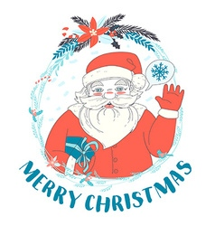 Festive Funny Merry Christmas card with Santa vector image vector image