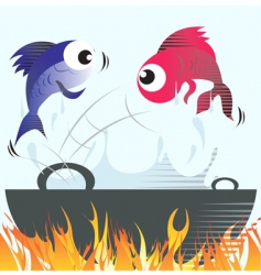 frying fish vector image vector image
