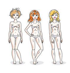 happy attractive young women standing in white vector image vector image