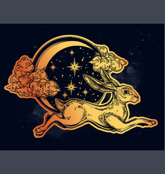 hare or jackrabbit jumping over the moon vector image vector image