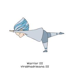 Kid yoga pose warrior iii vector
