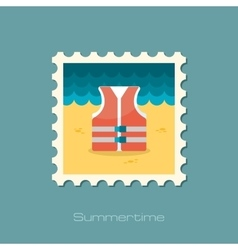 Life jacket flat stamp vector