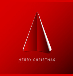 merry christmas card with a red tree made from vector image vector image